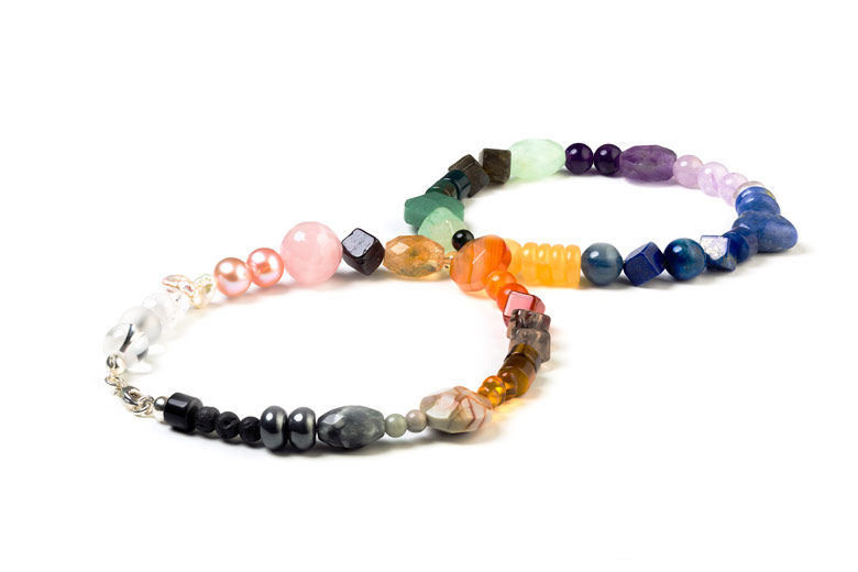 Drilled gemstones in a range of shapes