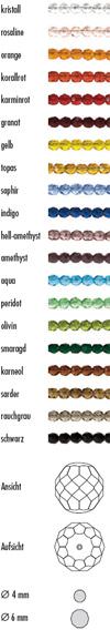 GRIFFIN Feuerpolierte Glasperlen sind lieferbar als kristall, rosaline, orange, korallrot, karminrot, granat, gelb, topas, saphir, indigo,  hell amethyst, amethyst, aqua, peridot, olivin, smaragd, karneol, sarder, rauchgrau, schwarz
